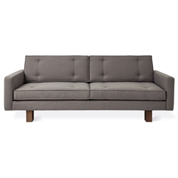 Gus* Modern Bradley Contemporary Sofa in Berkeley Metro Fabric Upholstery with Walnut Wood Base