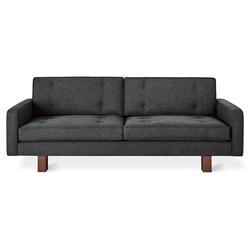 Gus* Modern Bradley Contemporary Sofa in Berkeley Shield Fabric Upholstery with Walnut Stained Wood Base