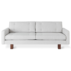 Gus* Modern Bradley Contemporary Sofa in Cambie Parchment Fabric Upholstery with Walnut Stained Solid Wood Base