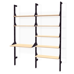Gus* Modern Branch-2 Desk + Shelving Unit in Black Ash + Blonde Ash Wood With Black Metal Brackets