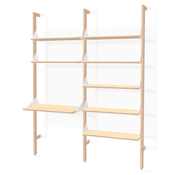 Gus* Modern Branch-2 Desk + Shelving Unit in Blonde Ash Wood With White Metal Brackets