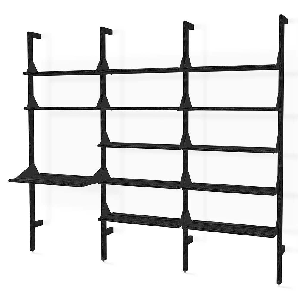 Gus* Modern Branch-3 Desk + Shelving Unit in Black Ash Wood With Black Metal Brackets