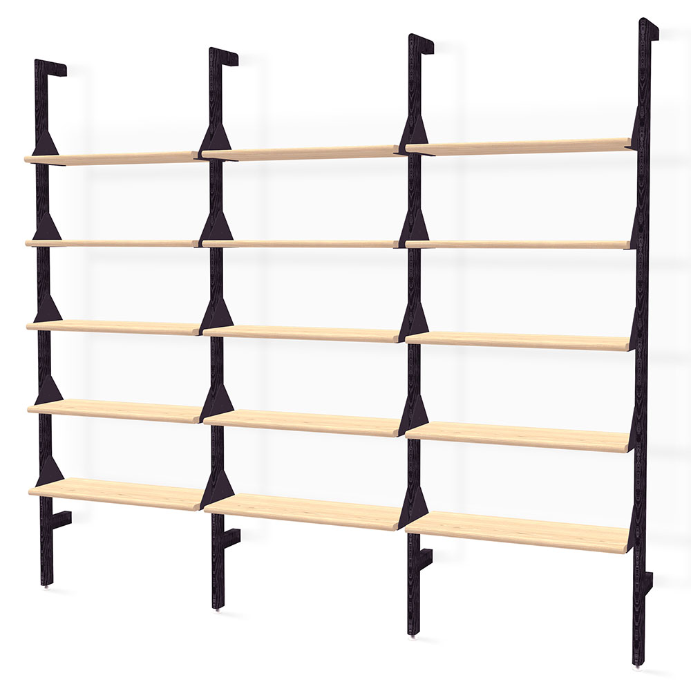 Gus* Modern Branch-3 Shelving Unit in Black and Blonde Ash Wood With Black Metal Brackets
