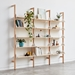 Gus* Modern Branch-3 Shelving Unit in Blonde Ash Wood With White Metal Brackets - Lifestyle