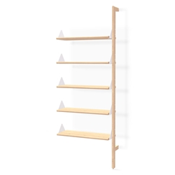 Gus* Modern Branch Add-On Shelving Unit in Blonde Ash Wood with White Metal Brackets