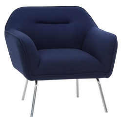 Brittany Navy Blue Fabric + Chromed Steel Modern Lounge Arm Chair