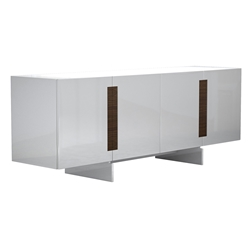 Brixton Glossy White Modern Sideboard with Walnut Wood Accents by Modloft Black