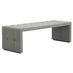 Modloft Broad Modern Bench in Warm Gray Top Grain Leather