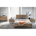 Modloft Broome Contemporary Bedroom Set in Latte Walnut Wood, Brushed Stainless Steel and Concrete - Room Setting