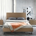 Modloft Broome Platform Modern Bed in Latte Walnut with Brushed Stainless Steel Base - Room Setting