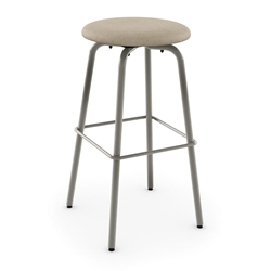Amisco Button Swivel Counter Stool - Titanium Metal + Pebble Fabric