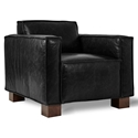 Gus* Modern Cabot Saddle Black Leather Upholstery + Walnut Stained Wood Block Feet Modern Arm Chair