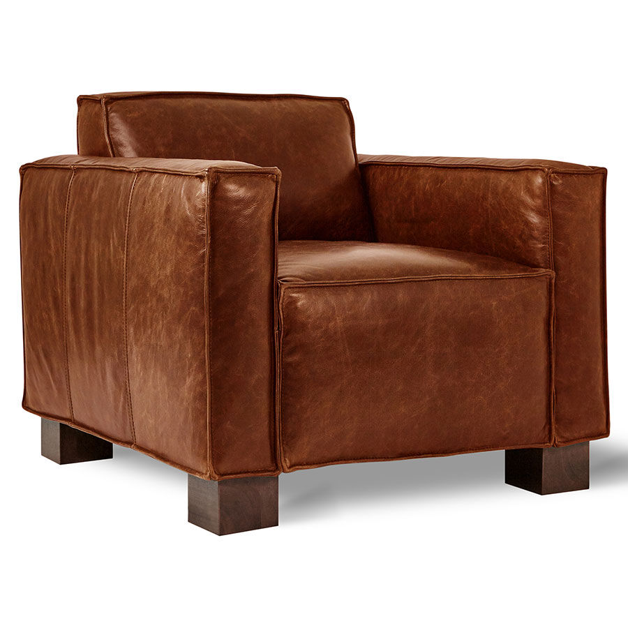 Gus* Modern Cabot Saddle Brown Leather Upholstery + Walnut Stained Wood Block Feet Contemporary Arm  sc 1 st  Collectic Home & Gus Modern Cabot Chair Saddle Brown Leather   Eurway