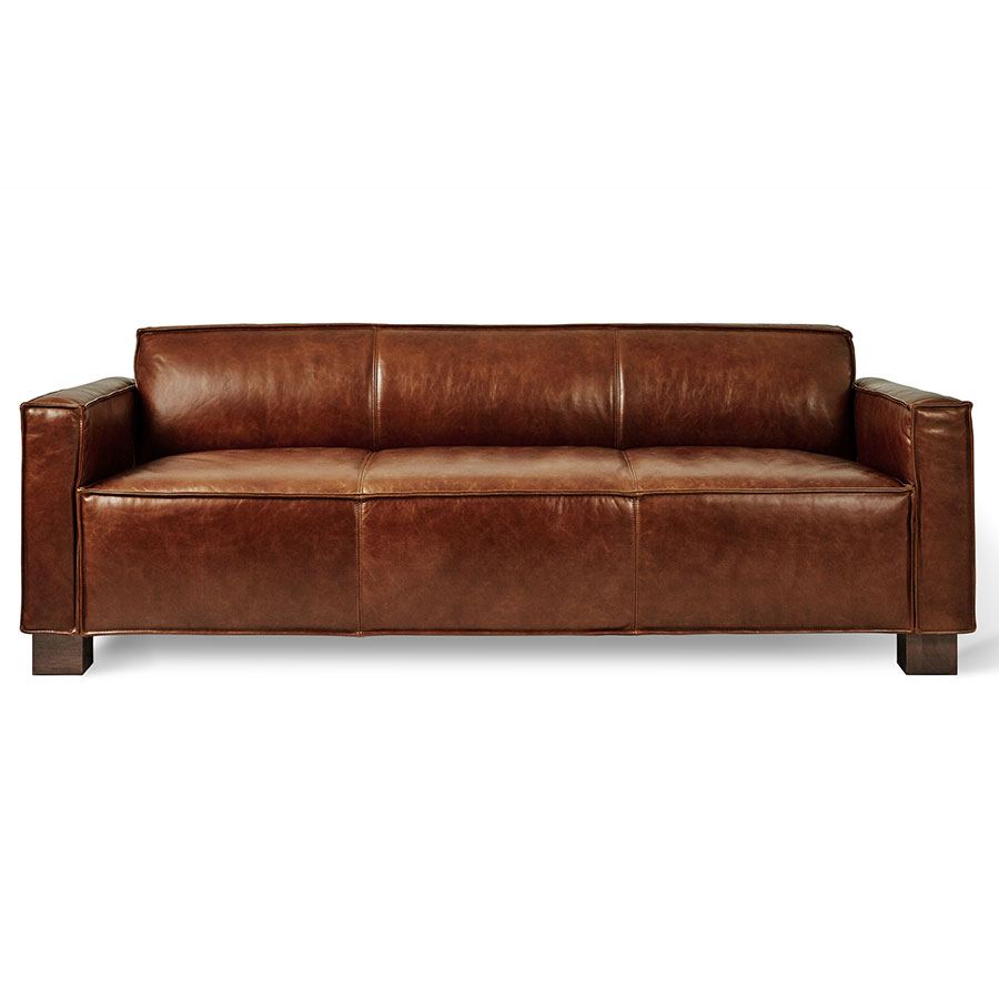 Attractive Cabot Saddle Brown Leather Upholstery + Walnut Stained Wood Block Feet  Modern Sofa By Gus*