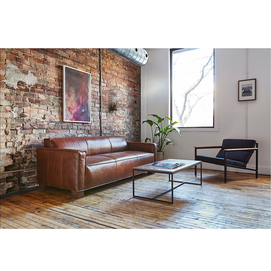 ... Gus* Modern Cabot Sofa In Saddle Brown Leather Upholstery With Walnut  Stained Solid Wood Block ...