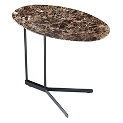 Cabrini Modern Marble Side Table in Emperador with Black Steel Base