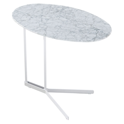 Cabrini Modern Marble Side Table in White with White Steel Base
