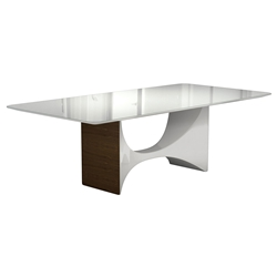 Camden White Glass + Walnut Modern Rectangular Dining Table by Modloft Black