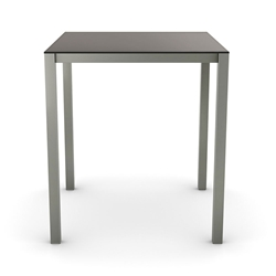 Carbon Modern Counter Table w/ Matte Black Glass by Amisco