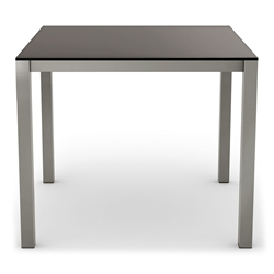 Carbon Modern Dining Table w/ Black Glass by Amisco