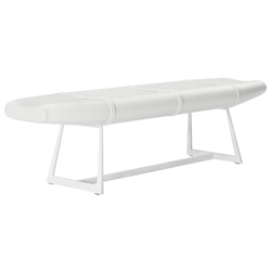 Modloft Carey Modern Bench in White Crocco Reclaimed Leather