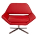 Chevron Red Leatherette + Stainless Steel Contemporary Lounge Chair