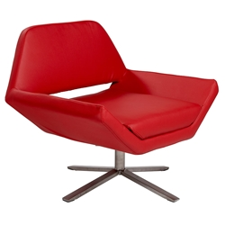 Chevron Red Leatherette + Stainless Steel Modern Lounge Chair