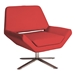Chevron-S Red Leatherette + Stainless Steel Modern Lounge Chair
