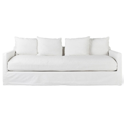 Gus* Modern Carmel Sofa In Washed Denim White Slipcover + Cushion Cases