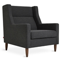 Gus* Modern Carmichael Contemporary Arm Chair in Berkeley Shield Fabric Upholstery with Solid Wood Legs