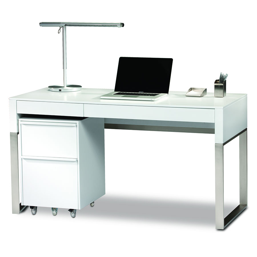 BDi Cascadia White Modern Desk Set
