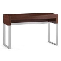 Cascadia Chocolate Stained Walnut + Satin Plated Nickel Modern Laptop Desk