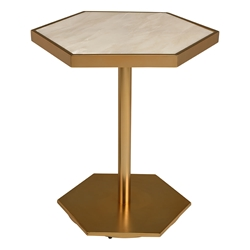 Ciarra Gold Metal + White Marble Hexagonal Modern Side Table
