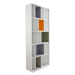 "Euro Style Cassie Matte White + Green + Gray + Yellow 34"" Wide Modern Bookcase"