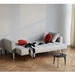 Cassius Quilt Modern Sleeper Sofa - Natural + Chrome - Bed Position