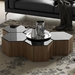 "Modloft Centre 10"" Hexagonal Modern Occasional Table in Black Glass and Walnut Wood - Room Setting"