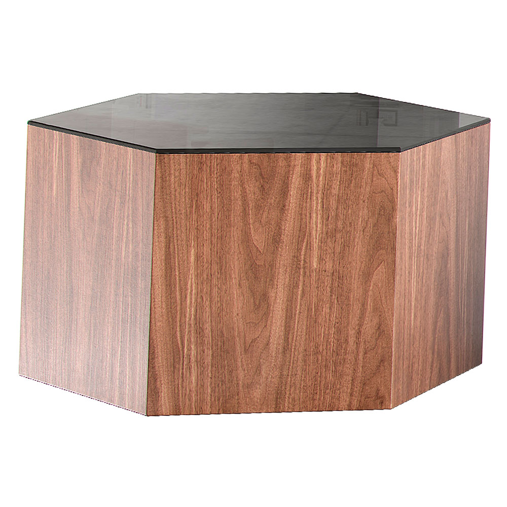 "Modloft Centre 10"" Hexagonal Modern Occasional Table in Black Glass and Walnut Wood"