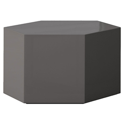 "Modloft Centre 10"" Hexagonal Modern Occasional Table in Dark Gull Gray"