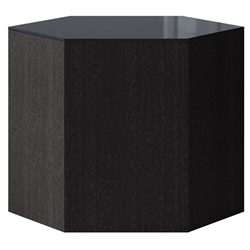 "Modloft Centre 14"" Modern Occasional Table with Asphalt Glass Top and Italian Gray Oak Veneer Body"