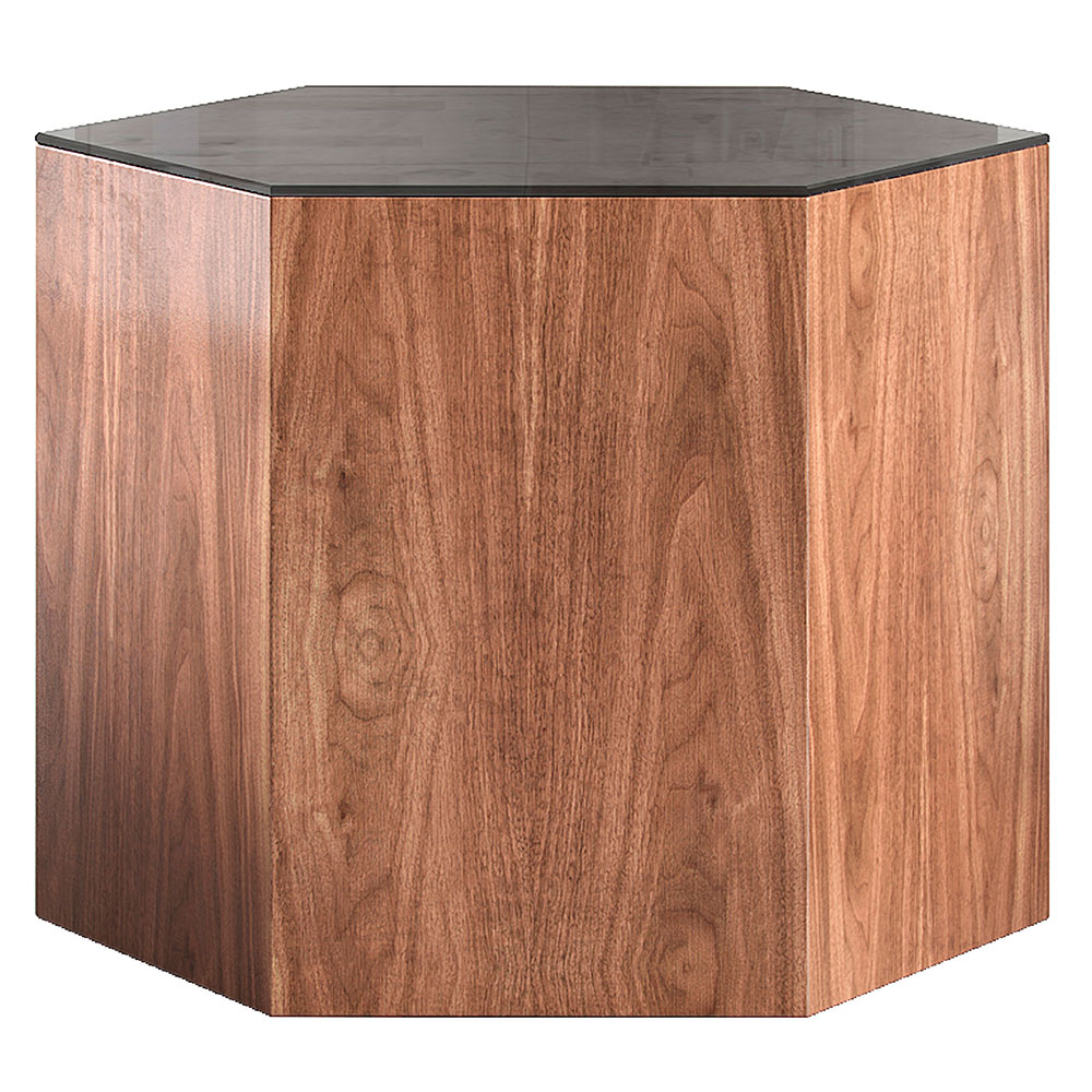 "Modloft Centre 14"" Modern Occasional Table with Silver Glass Top and Italian Gray Oak Veneer Body"