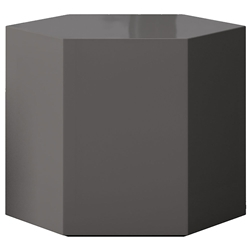 "Modloft Centre 14"" Modern Occasional Table in High Gloss Dark Gull Gray"