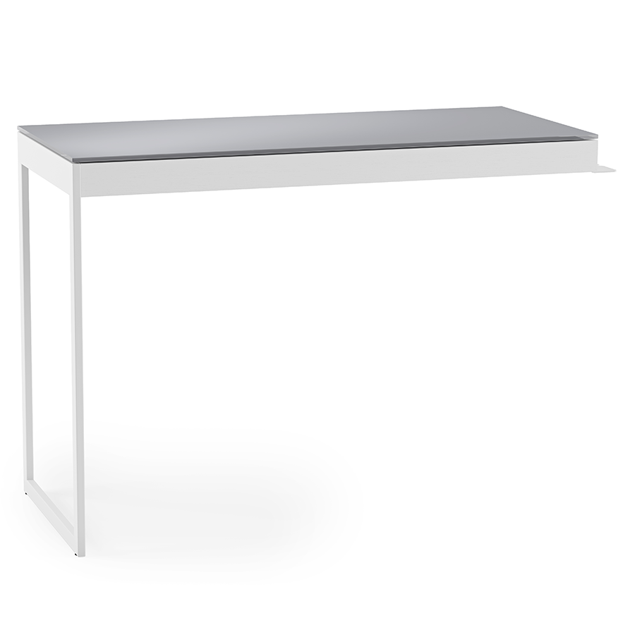 BDI Centro White + Gray Contemporary Desk Return