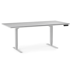 BDI Centro White Base + Gray Micro Etched Glass Top Modern Executive Lift Desk