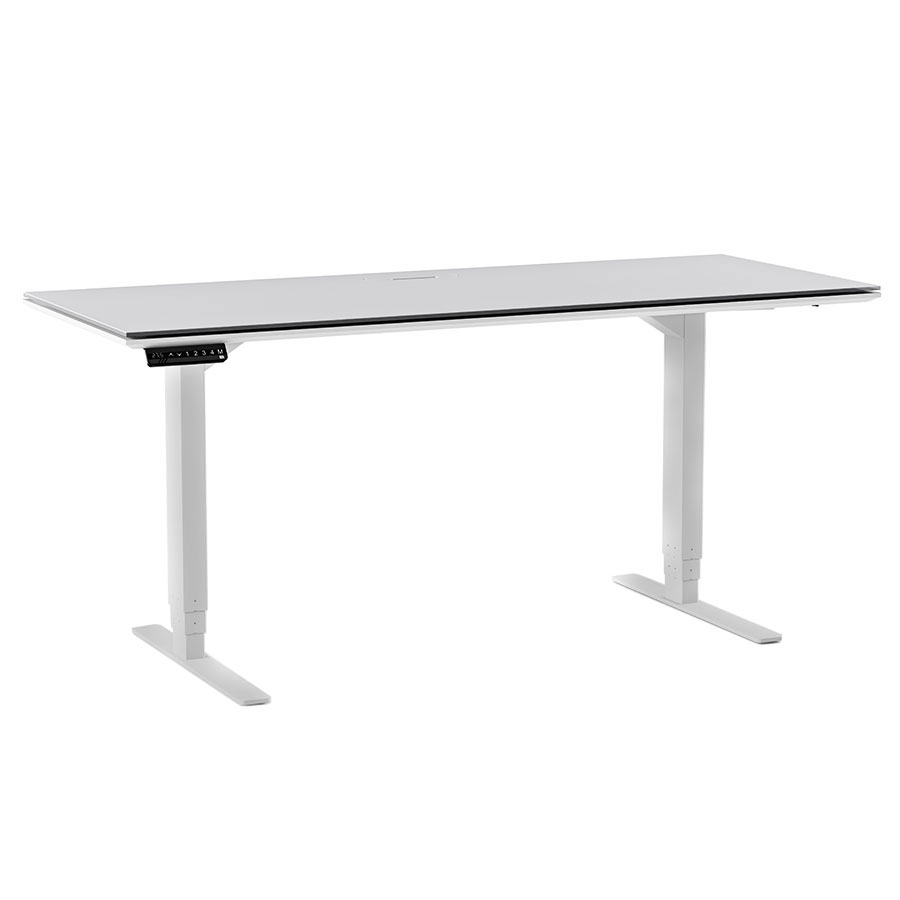 Centro Gray Top + White Base Modern Automatic Height Adjustable Sit + Stand Lift Desk