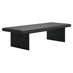 Chambers Dark Gray Genuine Leather + Black Steel Modern Bench by Modloft Black
