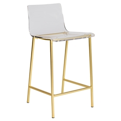 Chandler Clear Acrylic + Brushed Gold Metal Modern Counter Stool