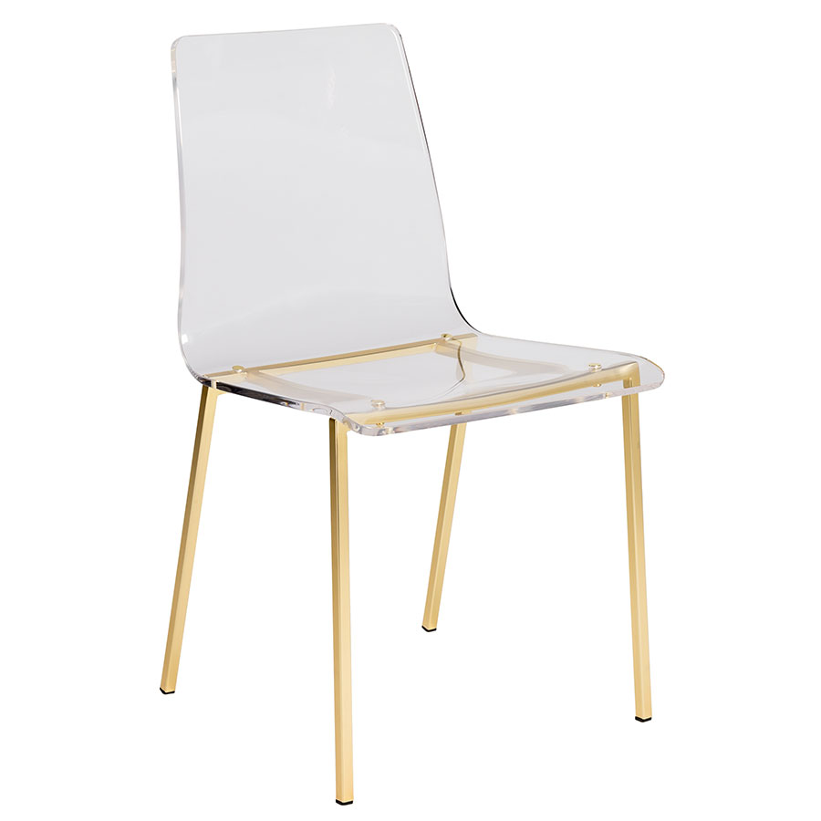 Chandler Clear Acrylic + Brushed Gold Metal Modern Dining Chair