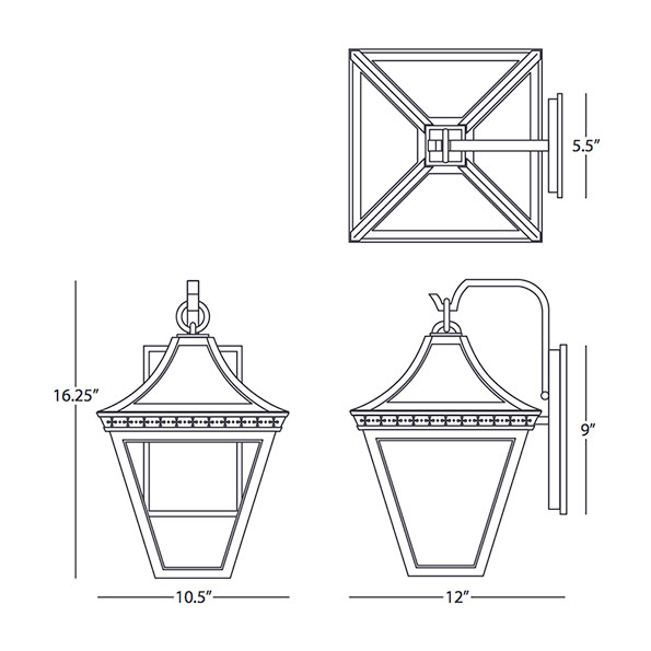 Porch Light Drawing: Charleston Outdoor Wall Sconce