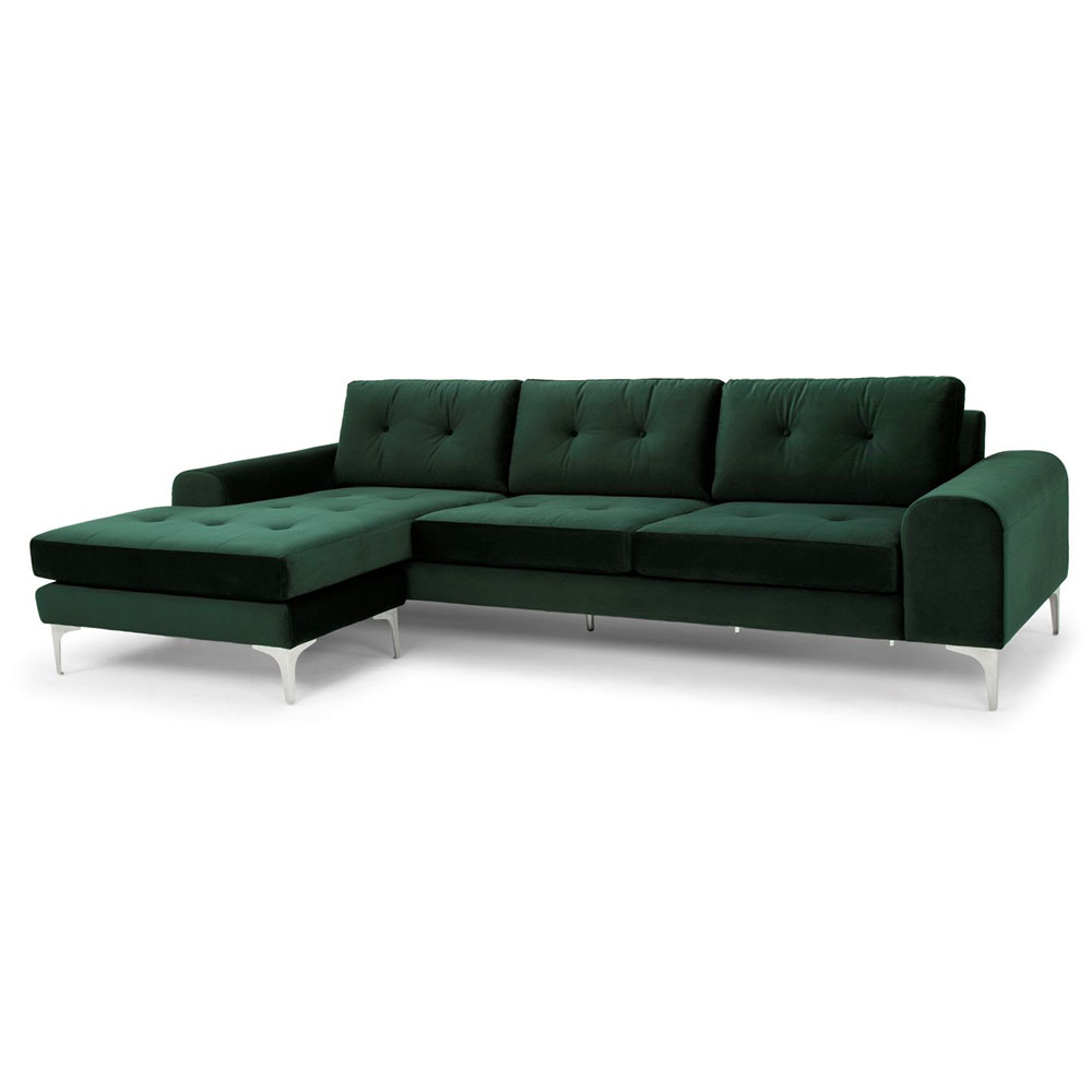 Chinook Emerald Green Fabric Upholstery + Brushed Stainless Steel Modern Sectional Sofa