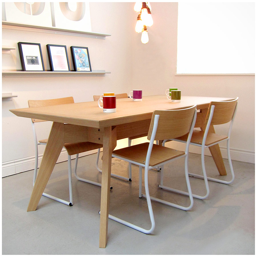 ... Church Dining Chair In White And Oak By Gus Modern